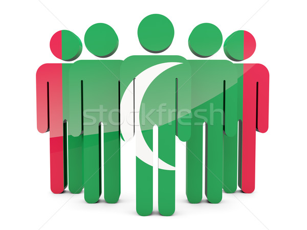 люди флаг Мальдивы изолированный белый толпа Сток-фото © MikhailMishchenko
