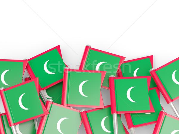 Banderą pin Malediwy odizolowany biały tle Zdjęcia stock © MikhailMishchenko