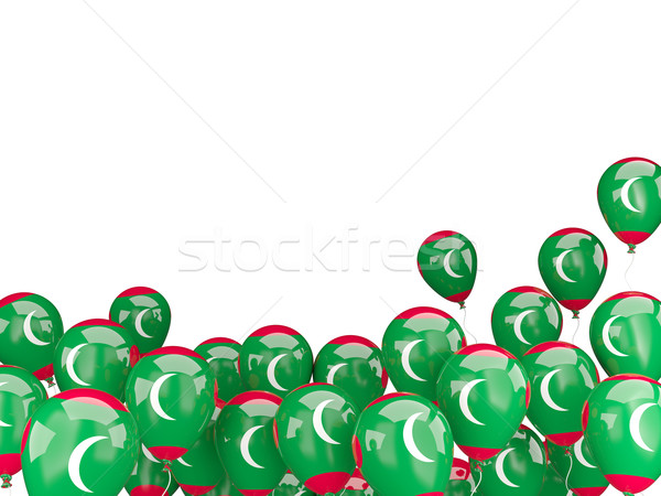 Flying balloons with flag of maldives Stock photo © MikhailMishchenko