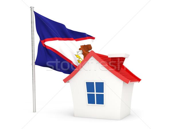 Huis vlag Amerikaans Samoa geïsoleerd witte home Stockfoto © MikhailMishchenko
