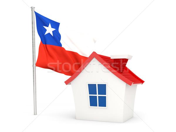 Ház zászló Chile izolált fehér otthon Stock fotó © MikhailMishchenko