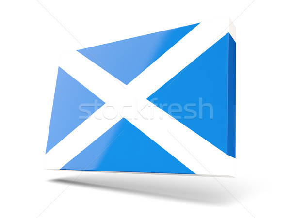 Praça ícone bandeira escócia isolado branco Foto stock © MikhailMishchenko