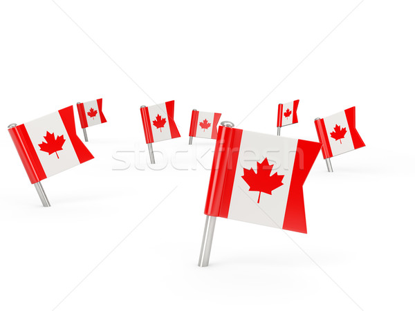 Praça bandeira Canadá isolado branco país Foto stock © MikhailMishchenko