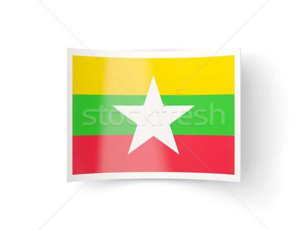 Icon vlag Myanmar geïsoleerd witte land Stockfoto © MikhailMishchenko