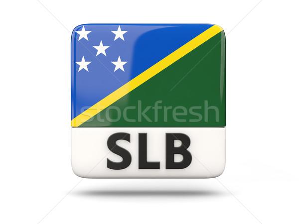Piazza icona bandiera Isole Salomone iso codice Foto d'archivio © MikhailMishchenko