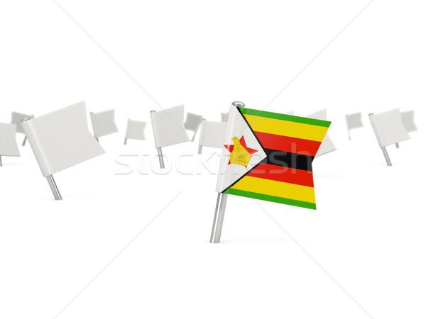広場 ピン フラグ ジンバブエ 孤立した 白 ストックフォト © MikhailMishchenko