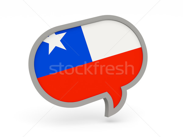 Chat ikon zászló Chile izolált fehér Stock fotó © MikhailMishchenko
