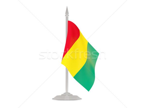 флаг Гвинея флагшток 3d визуализации изолированный белый Сток-фото © MikhailMishchenko