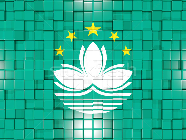 Background with square parts. Flag of macao. 3D illustration Stock photo © MikhailMishchenko