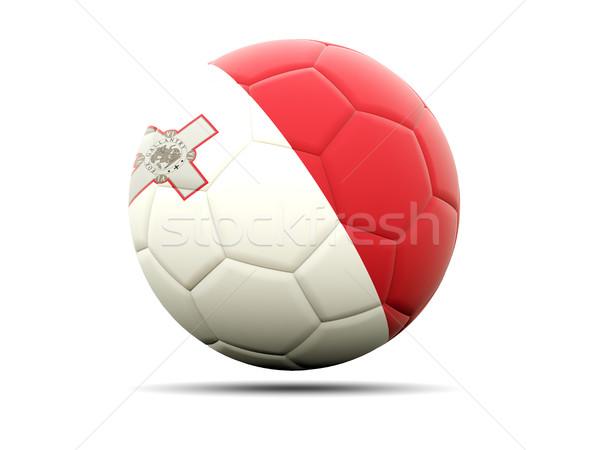 Piłka nożna banderą Malta 3d ilustracji piłka nożna sportu Zdjęcia stock © MikhailMishchenko