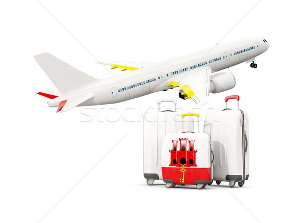 Bagażu banderą gibraltar trzy torby samolot Zdjęcia stock © MikhailMishchenko