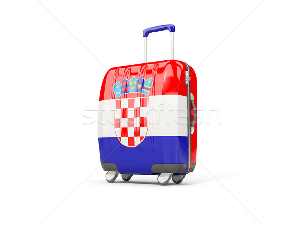 Luggage with flag of croatia. Suitcase isolated on white Stock photo © MikhailMishchenko