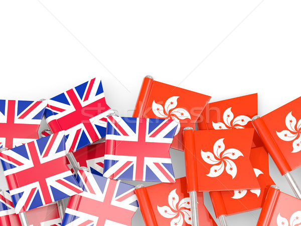 Flag pins of United Kingdom and Hong Kong isolated on white Stock photo © MikhailMishchenko