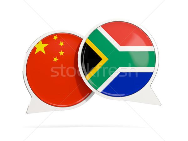 Chat Blasen China Südafrika isoliert weiß Stock foto © MikhailMishchenko