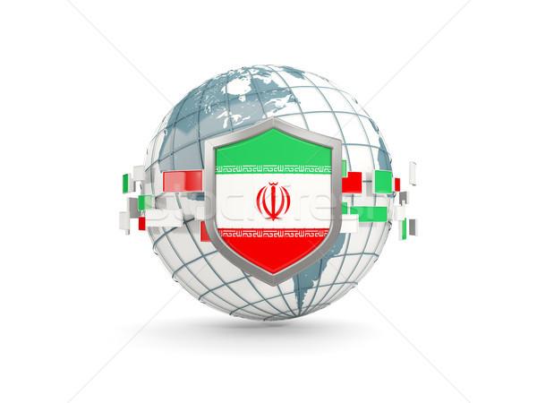 Stock fotó: Földgömb · pajzs · zászló · Irán · izolált · fehér
