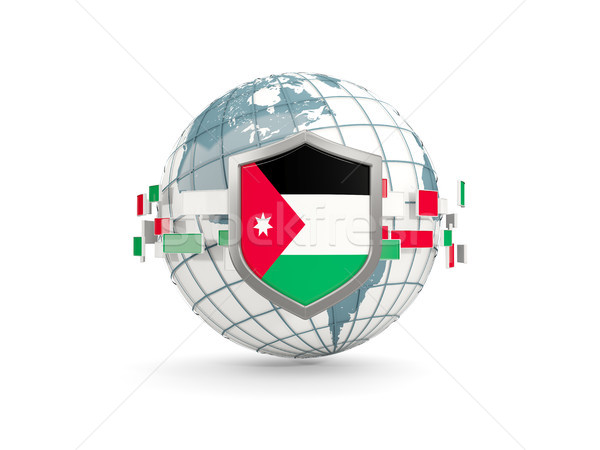 Wereldbol schild vlag Jordanië geïsoleerd witte Stockfoto © MikhailMishchenko