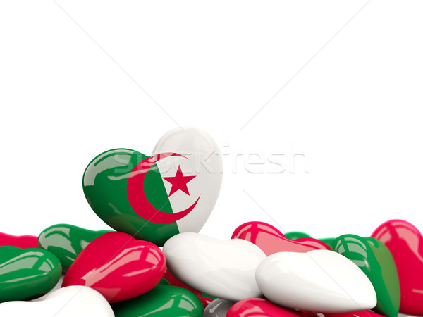 Coeur pavillon Algérie haut coeurs isolé Photo stock © MikhailMishchenko