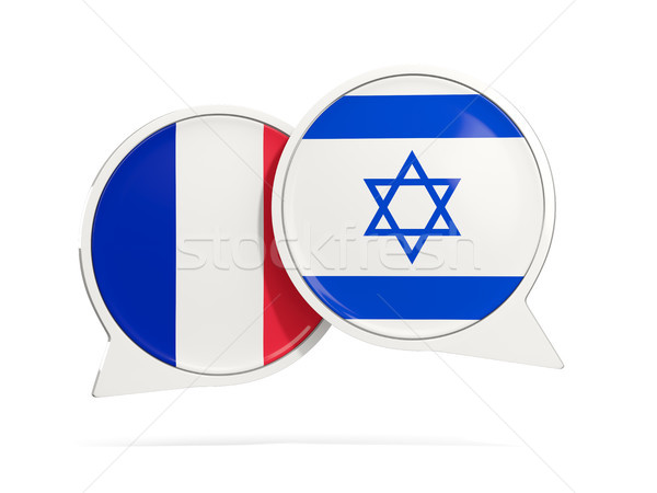 Chat bubbles of France and Israel isolated on white Stock photo © MikhailMishchenko