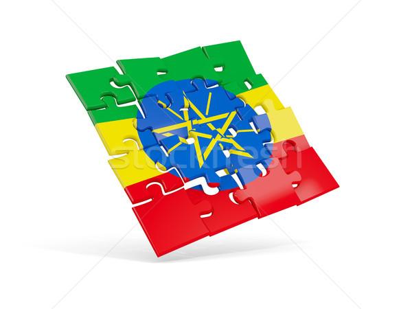 Puzzle banderą Etiopia odizolowany biały 3d ilustracji Zdjęcia stock © MikhailMishchenko