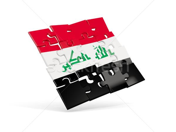 Quebra-cabeça bandeira Iraque isolado branco ilustração 3d Foto stock © MikhailMishchenko