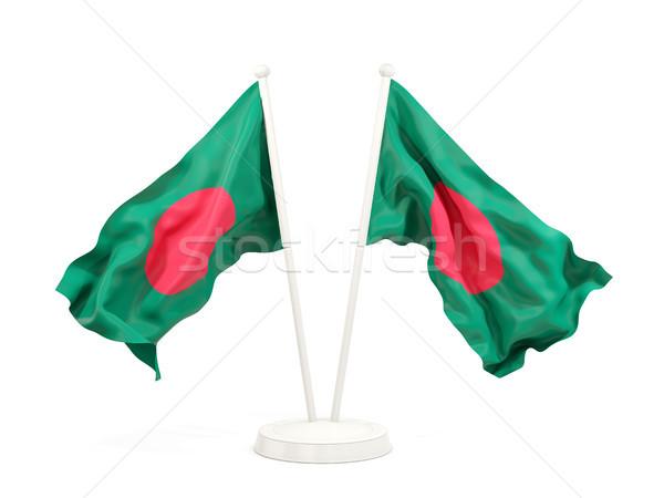 Twee vlaggen Bangladesh geïsoleerd witte Stockfoto © MikhailMishchenko