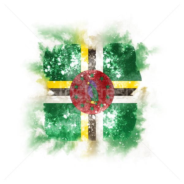 Stockfoto: Vierkante · grunge · vlag · Dominica · 3d · illustration · retro