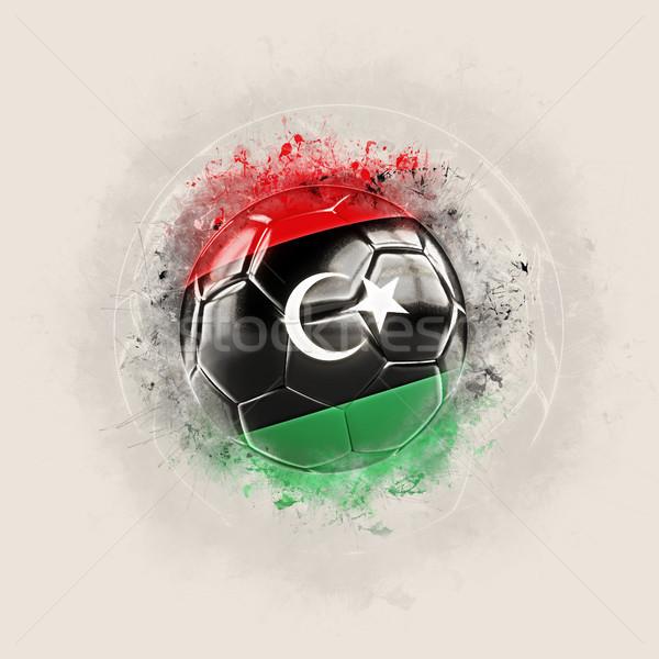 Grunge piłka nożna banderą Libia 3d ilustracji świat Zdjęcia stock © MikhailMishchenko