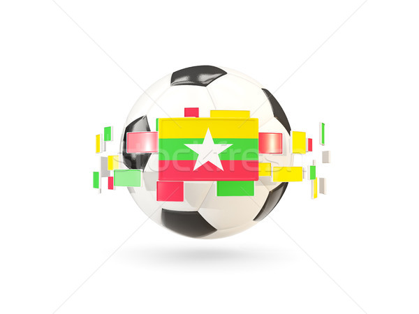 Soccer ball with line of flags. Flag of myanmar Stock photo © MikhailMishchenko