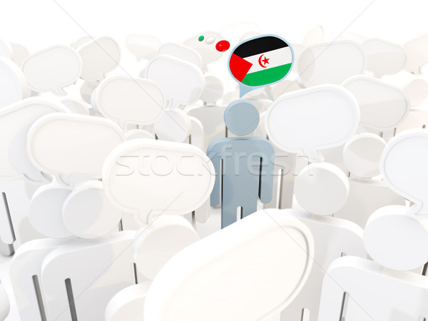 Man with flag of western sahara in a crowd Stock photo © MikhailMishchenko