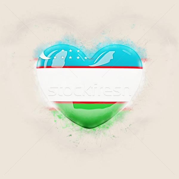 Szív zászló Üzbegisztán grunge 3d illusztráció utazás Stock fotó © MikhailMishchenko