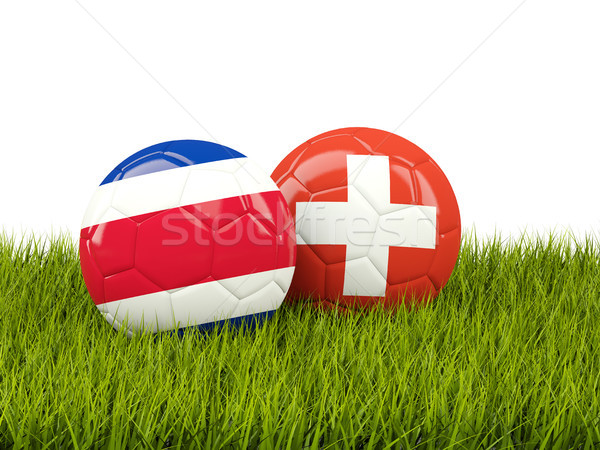 Costa Rica vs Switzerland. Soccer concept. Footballs with flags  Stock photo © MikhailMishchenko