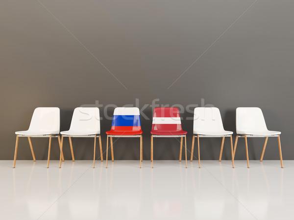 Sedie bandiera Russia Lettonia fila illustrazione 3d Foto d'archivio © MikhailMishchenko