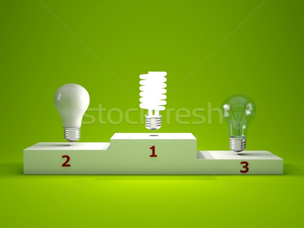 Energy efficient light bulb on podium Stock photo © MikhailMishchenko