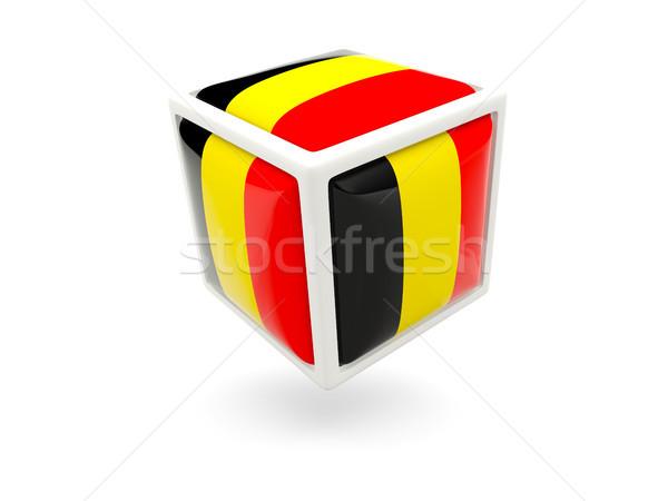 Stock fotó: Zászló · Belgium · kocka · ikon · izolált · fehér