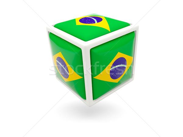 Banderą Brazylia kostki ikona odizolowany biały Zdjęcia stock © MikhailMishchenko