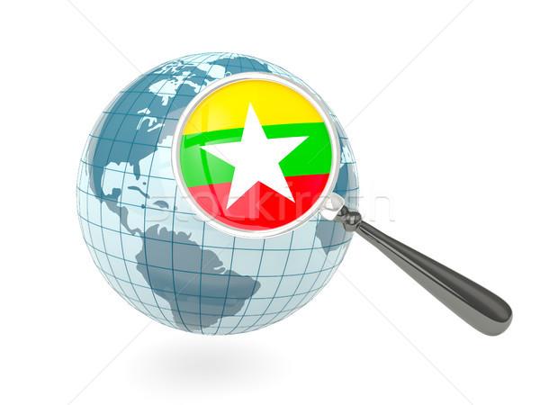 Vlag Myanmar Blauw wereldbol geïsoleerd Stockfoto © MikhailMishchenko