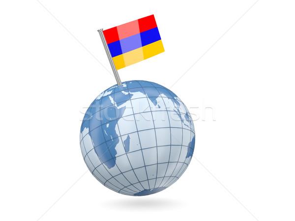 Globo bandeira Armênia azul isolado branco Foto stock © MikhailMishchenko