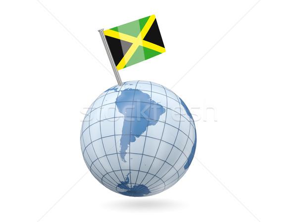 Mundo bandera Jamaica azul aislado blanco Foto stock © MikhailMishchenko