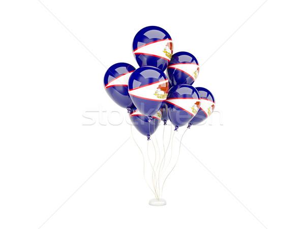 Voador balões bandeira Samoa Americana isolado branco Foto stock © MikhailMishchenko