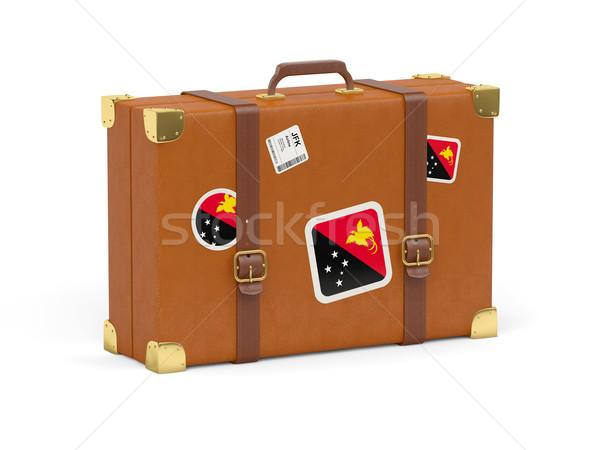 чемодан флаг Папуа-Новая Гвинея путешествия изолированный белый Сток-фото © MikhailMishchenko
