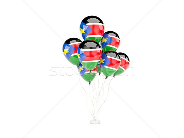 Repülés léggömbök zászló dél Szudán izolált Stock fotó © MikhailMishchenko