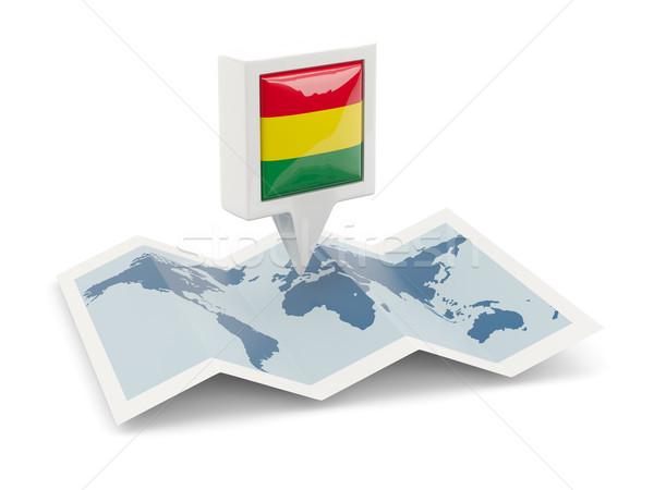 Tér tő zászló Bolívia térkép utazás Stock fotó © MikhailMishchenko