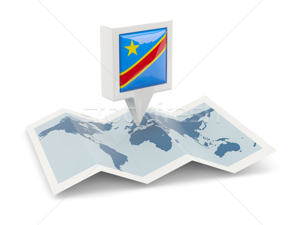 Square pin with flag of democratic republic of the congo on the  Stock photo © MikhailMishchenko