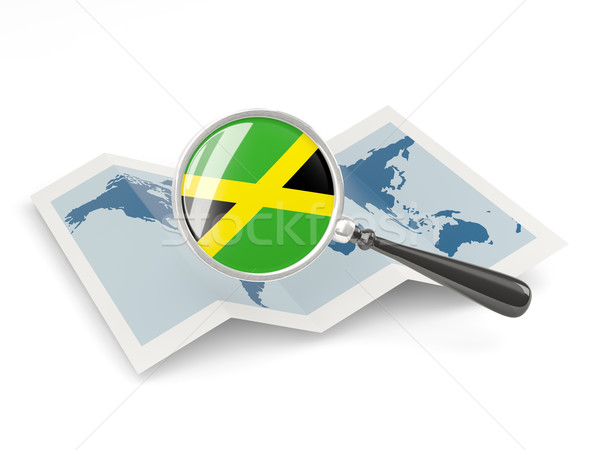 Magnified flag of jamaica with map Stock photo © MikhailMishchenko