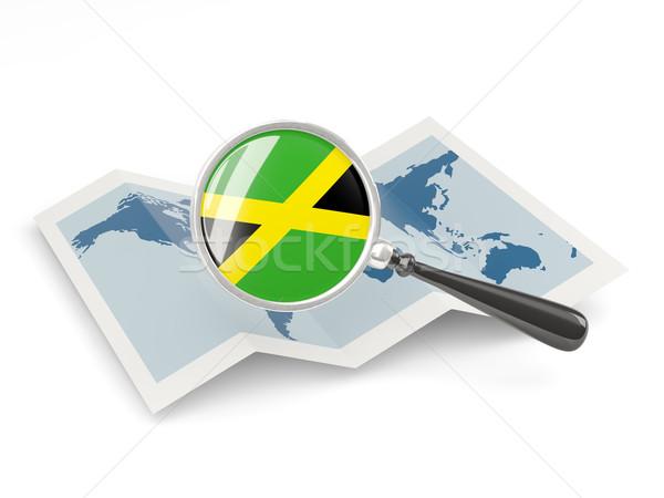 Vlag Jamaica kaart witte Stockfoto © MikhailMishchenko
