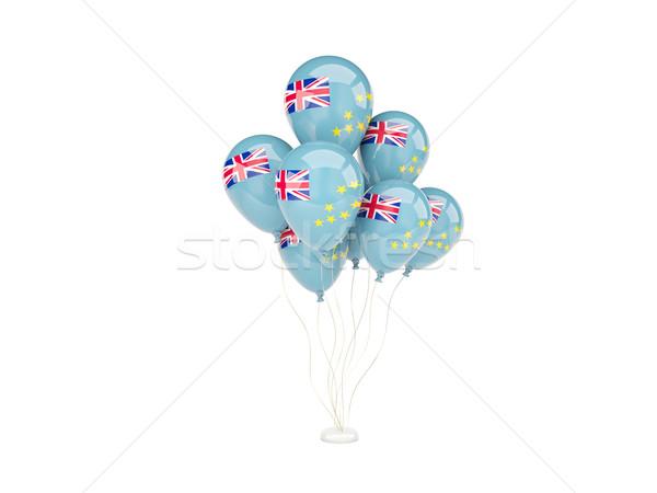 Voador balões bandeira Tuvalu isolado branco Foto stock © MikhailMishchenko