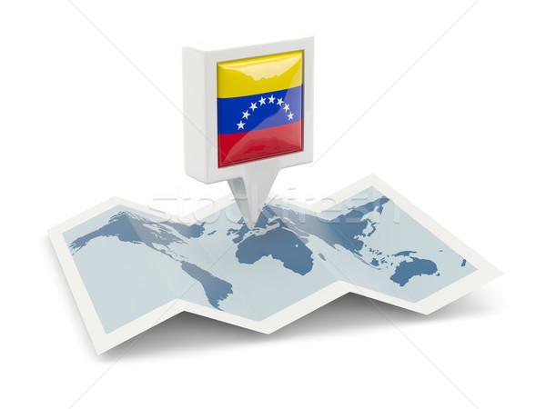 Praça pin bandeira Venezuela mapa viajar Foto stock © MikhailMishchenko