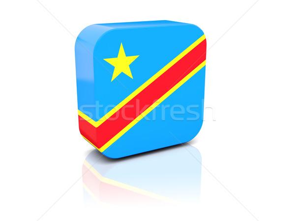 Kare ikon bayrak demokratik cumhuriyet Kongo Stok fotoğraf © MikhailMishchenko