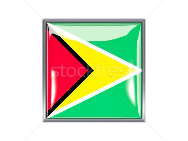 Vierkante icon vlag Guyana metaal frame Stockfoto © MikhailMishchenko