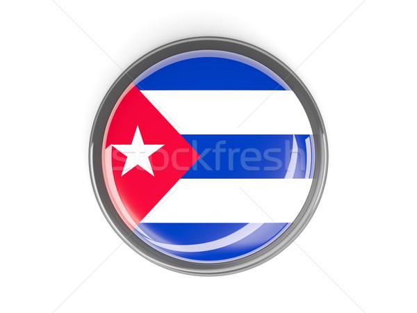 Gomb zászló Kuba fém keret utazás Stock fotó © MikhailMishchenko